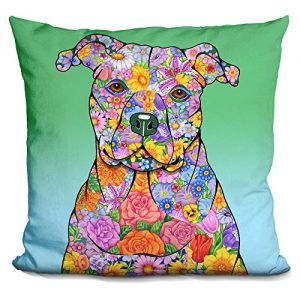 lilipi flowers pitbull decorative accent throw pillow